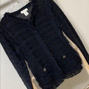 AMARYLLIS | S | knit fringe jacket coat blazer